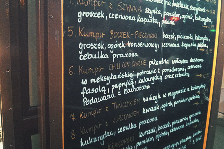 Krakowski Kumpir menu
